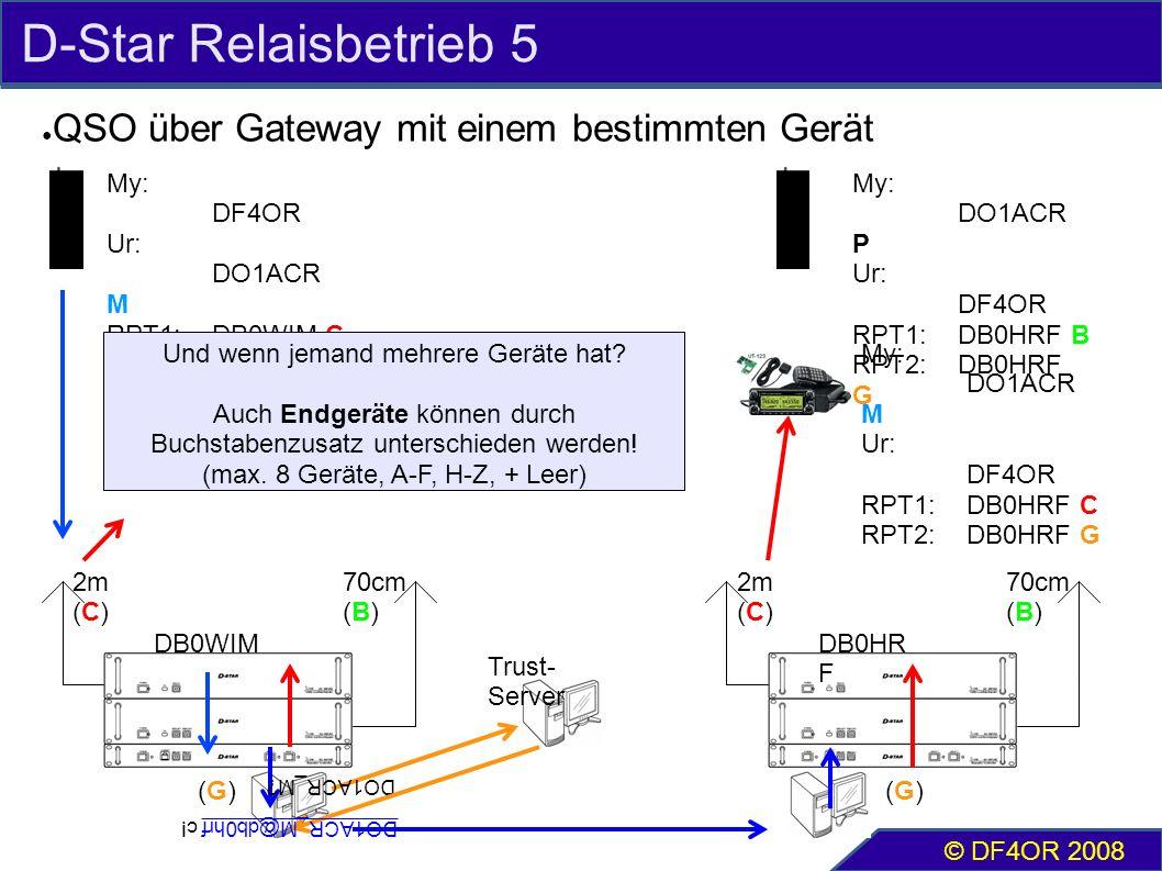 D-Star Relaisbetrieb 5 ● QSO über Gateway mit einem bestimmten Gerät © DF4OR 2008 2m (C) 70cm (B) My: DF4OR Ur: DO1ACR M RPT1:DB0WIM C RPT2:DB0WIM G 2m (C) 70cm (B) My: DO1ACR P Ur: DF4OR RPT1:DB0HRF B RPT2:DB0HRF G Und wenn jemand mehrere Geräte hat.