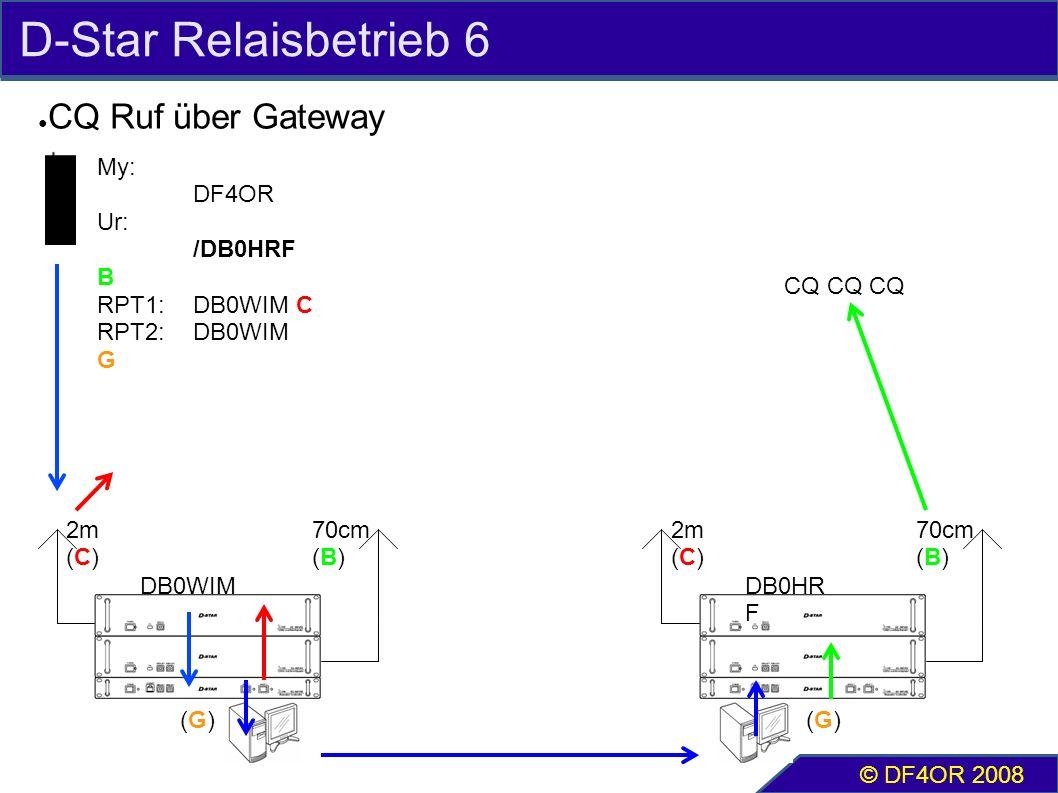 D-Star Relaisbetrieb 6 ● CQ Ruf über Gateway © DF4OR 2008 2m (C) 70cm (B) My: DF4OR Ur: /DB0HRF B RPT1:DB0WIM C RPT2:DB0WIM G 2m (C) 70cm (B) DB0HR F