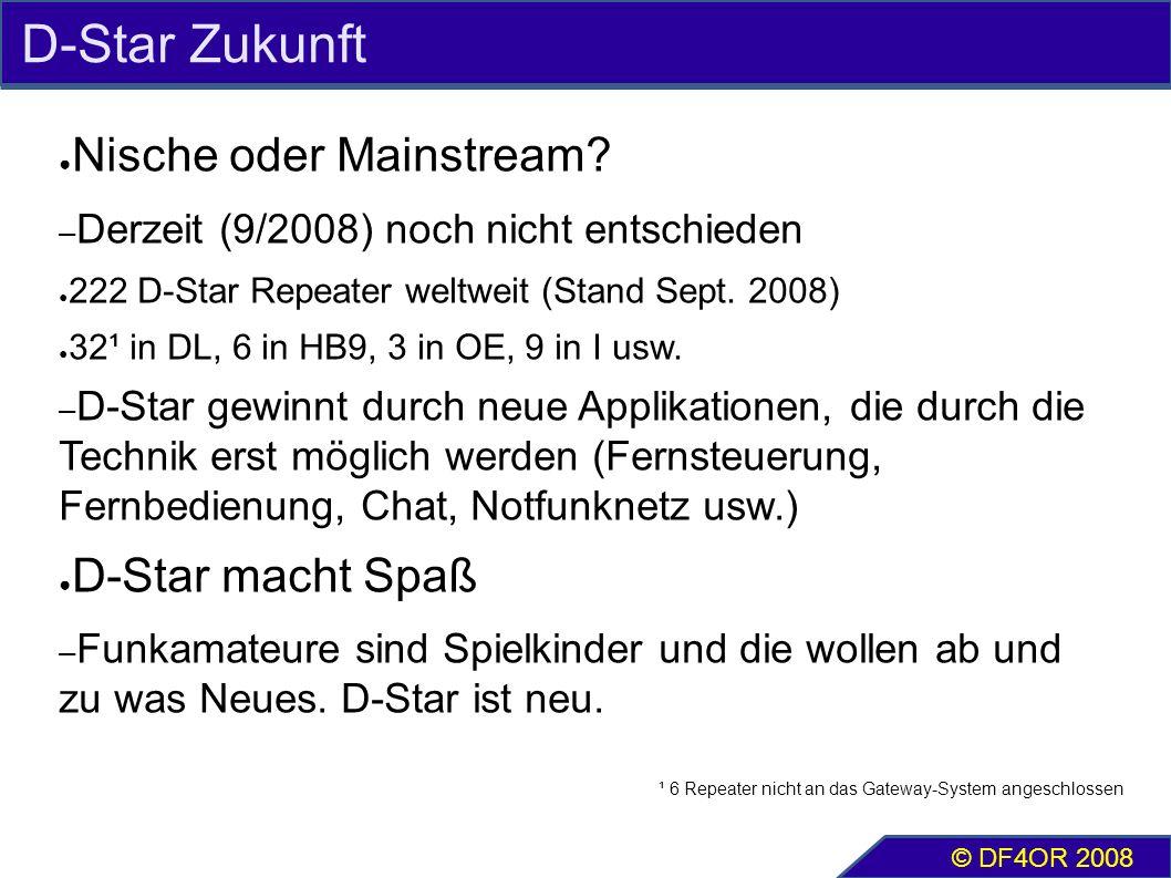 D-Star Zukunft ● Nische oder Mainstream? – Derzeit (9/2008) noch nicht entschieden ● 222 D-Star Repeater weltweit (Stand Sept. 2008) ● 32¹ in DL, 6 in