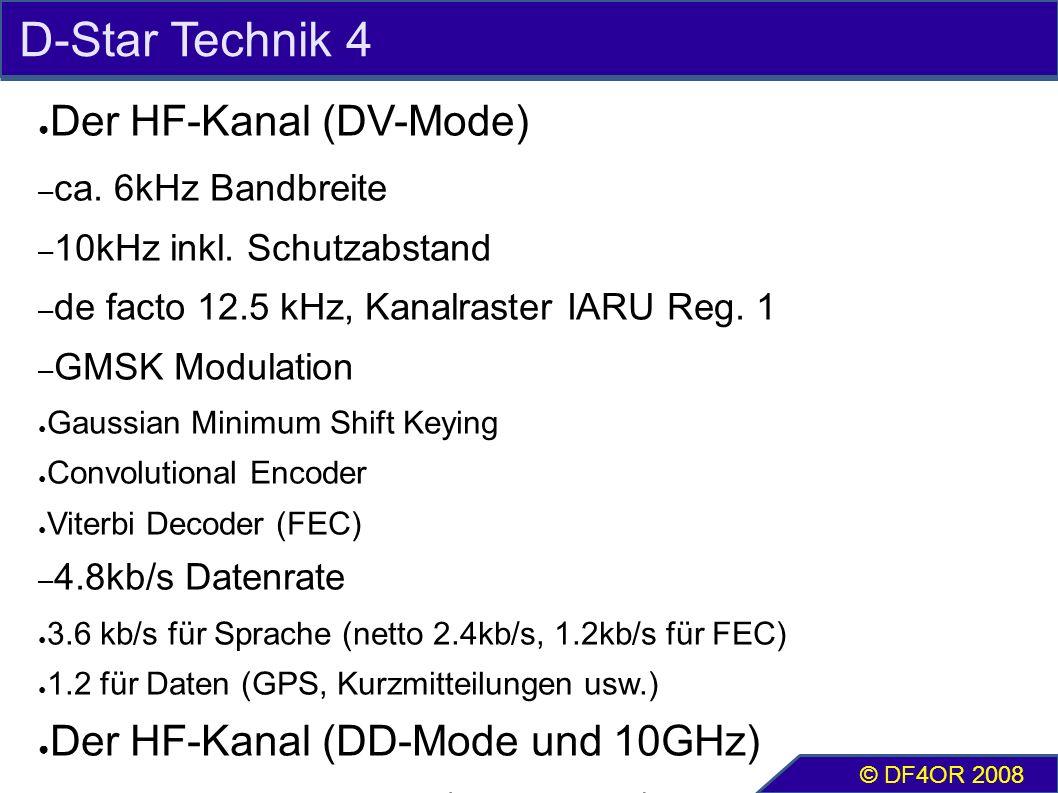 D-Star Technik 4 ● Der HF-Kanal (DV-Mode) – ca. 6kHz Bandbreite – 10kHz inkl. Schutzabstand – de facto 12.5 kHz, Kanalraster IARU Reg. 1 – GMSK Modula