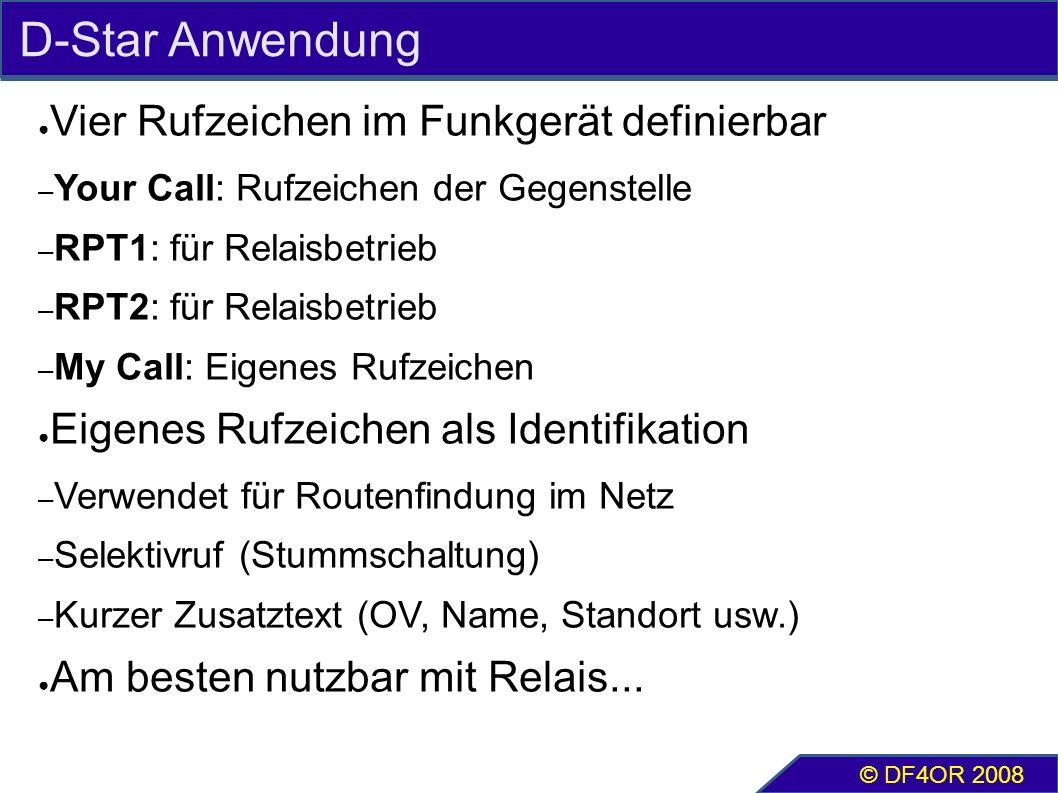 D-Star Anwendung ● Vier Rufzeichen im Funkgerät definierbar – Your Call: Rufzeichen der Gegenstelle – RPT1: für Relaisbetrieb – RPT2: für Relaisbetrie