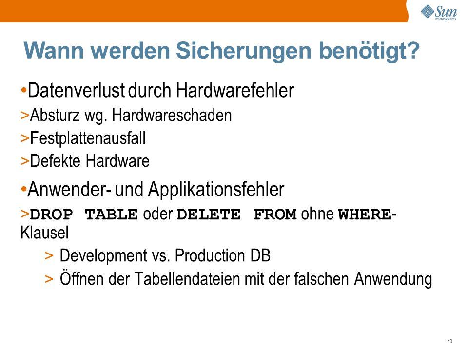 13 Wann werden Sicherungen benötigt. Datenverlust durch Hardwarefehler > Absturz wg.