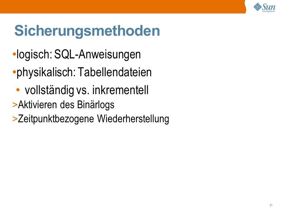 21 Sicherungsmethoden logisch: SQL-Anweisungen physikalisch: Tabellendateien vollständig vs.