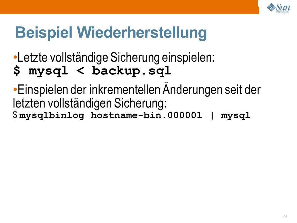 32 Beispiel Wiederherstellung Letzte vollständige Sicherung einspielen: $ mysql < backup.sql Einspielen der inkrementellen Änderungen seit der letzten vollständigen Sicherung: $ mysqlbinlog hostname-bin.000001 | mysql