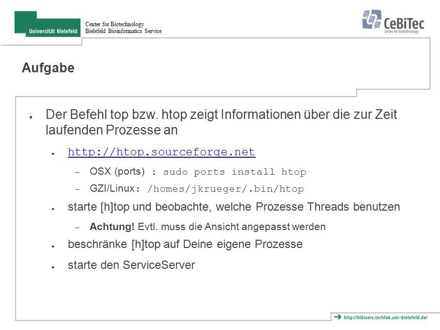Center for Biotechnology Bielefeld Bioinformatics Service Native Threads ● Implementation von Threads abhängig vom Betriebssystem und evtl.