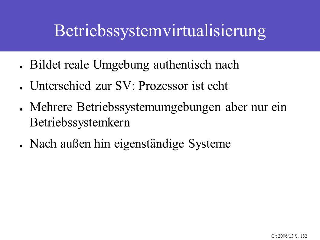Betriebssystemvirtualisierung C't 2006/13 S. 182 ● Bildet reale Umgebung authentisch nach ● Unterschied zur SV: Prozessor ist echt ● Mehrere Betriebss