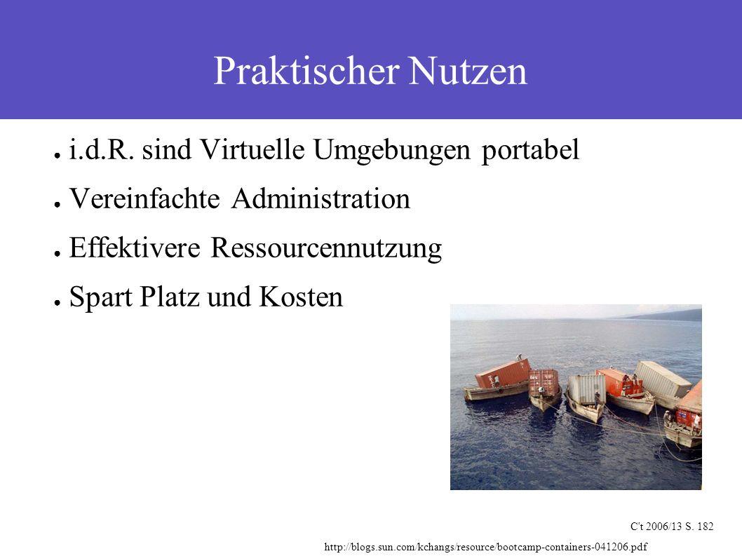 Praktischer Nutzen C't 2006/13 S. 182 ● i.d.R. sind Virtuelle Umgebungen portabel ● Vereinfachte Administration ● Effektivere Ressourcennutzung ● Spar