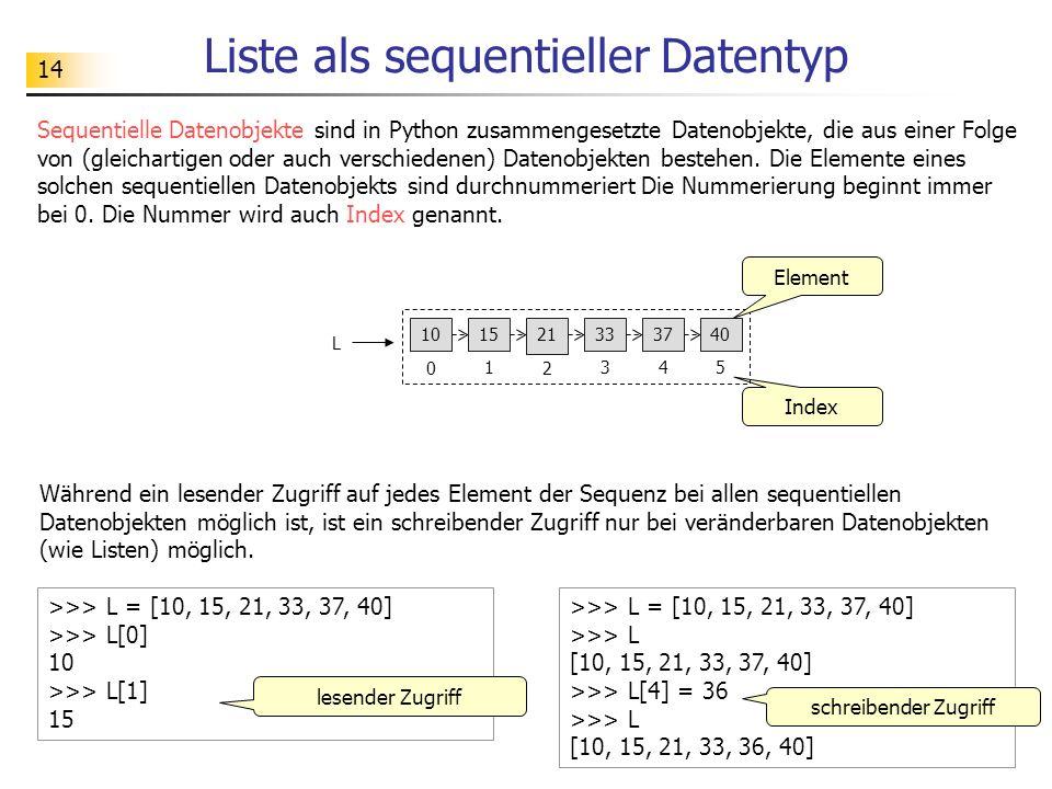 14 Liste als sequentieller Datentyp Index >>> L = [10, 15, 21, 33, 37, 40] >>> L[0] 10 >>> L[1] 15 lesender Zugriff >>> L = [10, 15, 21, 33, 37, 40] >>> L [10, 15, 21, 33, 37, 40] >>> L[4] = 36 >>> L [10, 15, 21, 33, 36, 40] schreibender Zugriff Während ein lesender Zugriff auf jedes Element der Sequenz bei allen sequentiellen Datenobjekten möglich ist, ist ein schreibender Zugriff nur bei veränderbaren Datenobjekten (wie Listen) möglich.