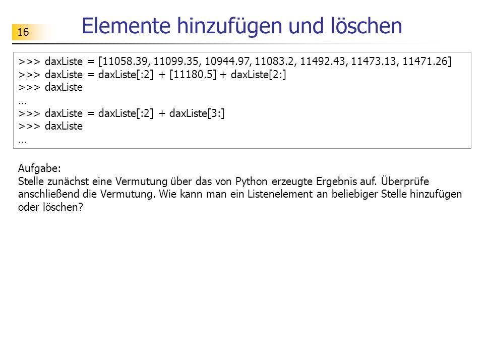 16 Elemente hinzufügen und löschen >>> daxListe = [11058.39, 11099.35, 10944.97, 11083.2, 11492.43, 11473.13, 11471.26] >>> daxListe = daxListe[:2] + [11180.5] + daxListe[2:] >>> daxListe … >>> daxListe = daxListe[:2] + daxListe[3:] >>> daxListe … Aufgabe: Stelle zunächst eine Vermutung über das von Python erzeugte Ergebnis auf.