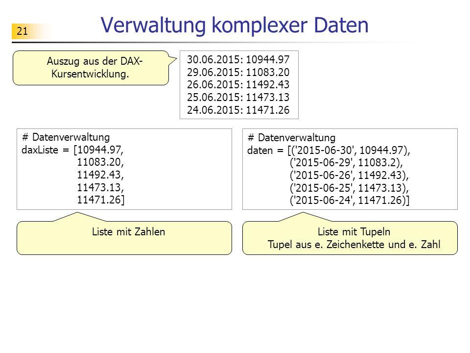 21 Verwaltung komplexer Daten # Datenverwaltung daxListe = [10944.97, 11083.20, 11492.43, 11473.13, 11471.26] 30.06.2015: 10944.97 29.06.2015: 11083.20 26.06.2015: 11492.43 25.06.2015: 11473.13 24.06.2015: 11471.26 Liste mit Tupeln Tupel aus e.