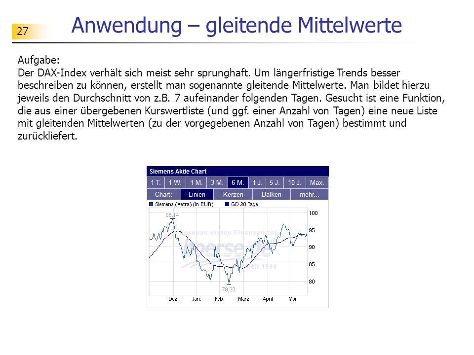 27 Anwendung – gleitende Mittelwerte Aufgabe: Der DAX-Index verhält sich meist sehr sprunghaft.