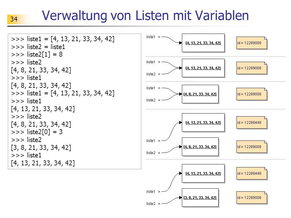 34 Verwaltung von Listen mit Variablen >>> liste1 = [4, 13, 21, 33, 34, 42] >>> liste2 = liste1 >>> liste2[1] = 8 >>> liste2 [4, 8, 21, 33, 34, 42] >>> liste1 [4, 8, 21, 33, 34, 42] >>> liste1 = [4, 13, 21, 33, 34, 42] >>> liste1 [4, 13, 21, 33, 34, 42] >>> liste2 [4, 8, 21, 33, 34, 42] >>> liste2[0] = 3 >>> liste2 [3, 8, 21, 33, 34, 42] >>> liste1 [4, 13, 21, 33, 34, 42]