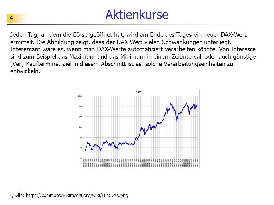 4 Aktienkurse Jeden Tag, an dem die Börse geöffnet hat, wird am Ende des Tages ein neuer DAX-Wert ermittelt.