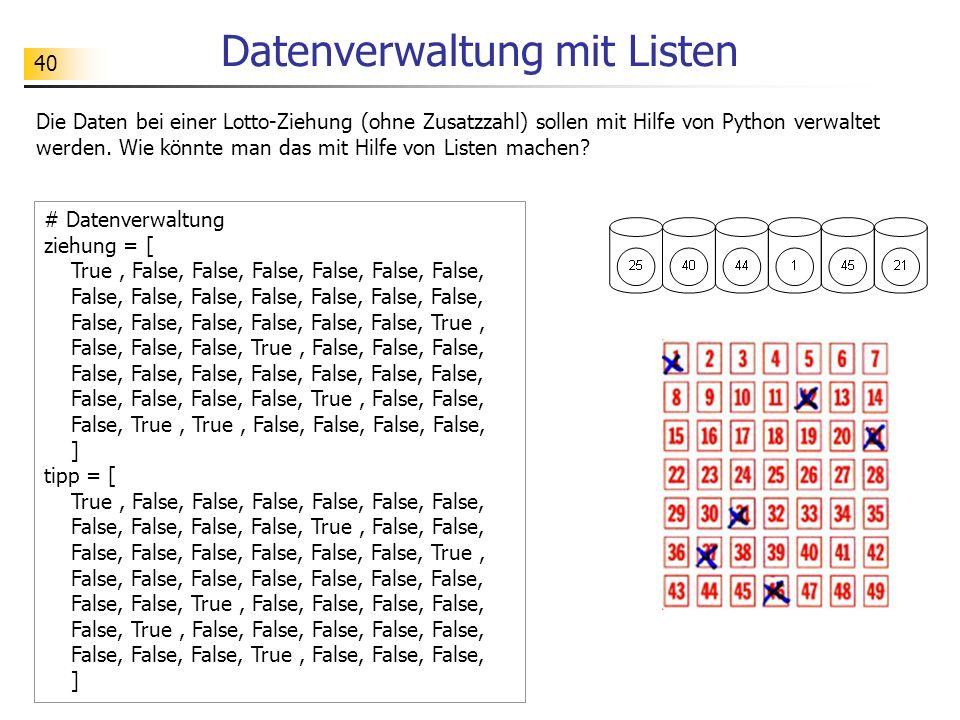 40 Datenverwaltung mit Listen Die Daten bei einer Lotto-Ziehung (ohne Zusatzzahl) sollen mit Hilfe von Python verwaltet werden.