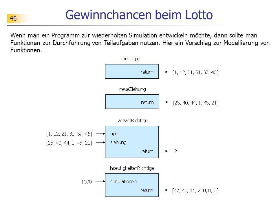 46 Gewinnchancen beim Lotto Wenn man ein Programm zur wiederholten Simulation entwickeln möchte, dann sollte man Funktionen zur Durchführung von Teilaufgaben nutzen.
