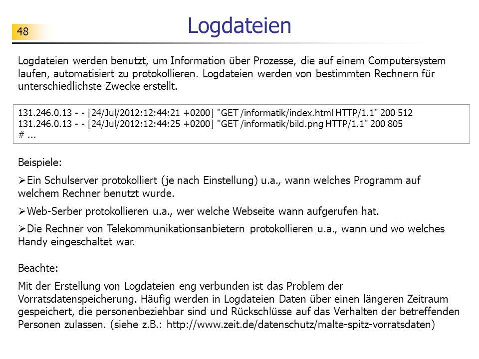48 Logdateien Logdateien werden benutzt, um Information über Prozesse, die auf einem Computersystem laufen, automatisiert zu protokollieren.