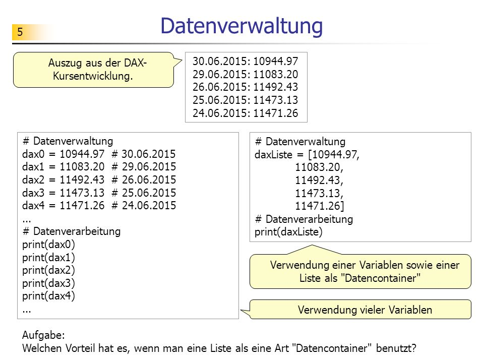 6 Zugriff auf Listenelemente >>> daxListe = [10944.97, 11083.20, 11492.43, 11473.13, 11471.26, 11542.54, 11460.50] >>> daxListe[0]...