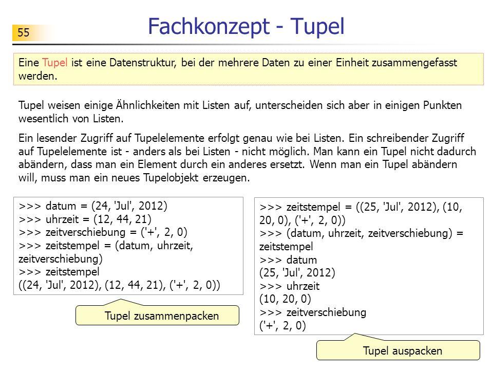 55 Fachkonzept - Tupel Eine Tupel ist eine Datenstruktur, bei der mehrere Daten zu einer Einheit zusammengefasst werden.