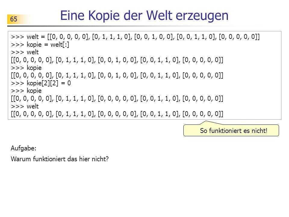 65 Eine Kopie der Welt erzeugen >>> welt = [[0, 0, 0, 0, 0], [0, 1, 1, 1, 0], [0, 0, 1, 0, 0], [0, 0, 1, 1, 0], [0, 0, 0, 0, 0]] >>> kopie = welt[:] >>> welt [[0, 0, 0, 0, 0], [0, 1, 1, 1, 0], [0, 0, 1, 0, 0], [0, 0, 1, 1, 0], [0, 0, 0, 0, 0]] >>> kopie [[0, 0, 0, 0, 0], [0, 1, 1, 1, 0], [0, 0, 1, 0, 0], [0, 0, 1, 1, 0], [0, 0, 0, 0, 0]] >>> kopie[2][2] = 0 >>> kopie [[0, 0, 0, 0, 0], [0, 1, 1, 1, 0], [0, 0, 0, 0, 0], [0, 0, 1, 1, 0], [0, 0, 0, 0, 0]] >>> welt [[0, 0, 0, 0, 0], [0, 1, 1, 1, 0], [0, 0, 0, 0, 0], [0, 0, 1, 1, 0], [0, 0, 0, 0, 0]] So funktioniert es nicht.