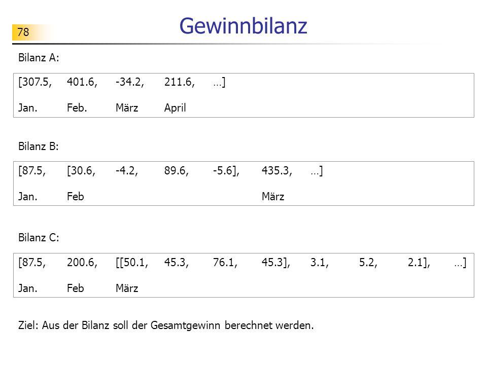 78 Gewinnbilanz Bilanz A: [307.5,401.6,-34.2,211.6,…] Jan.Feb.MärzApril Ziel: Aus der Bilanz soll der Gesamtgewinn berechnet werden.