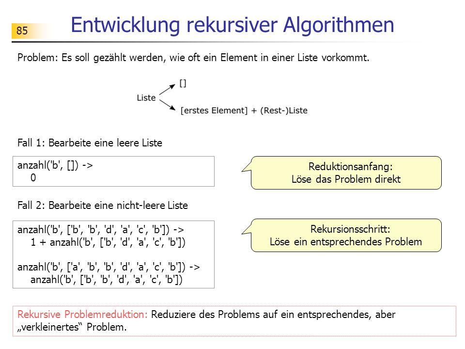 85 Entwicklung rekursiver Algorithmen Problem: Es soll gezählt werden, wie oft ein Element in einer Liste vorkommt.
