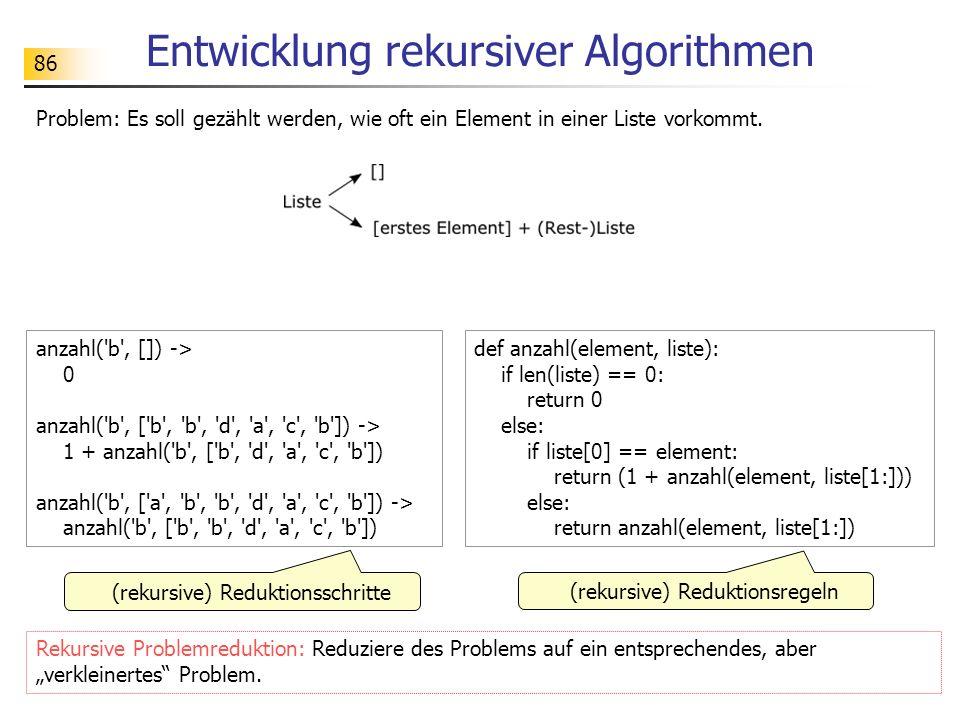 86 Entwicklung rekursiver Algorithmen Problem: Es soll gezählt werden, wie oft ein Element in einer Liste vorkommt.