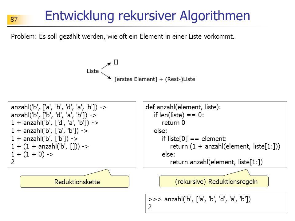 87 Entwicklung rekursiver Algorithmen Problem: Es soll gezählt werden, wie oft ein Element in einer Liste vorkommt.