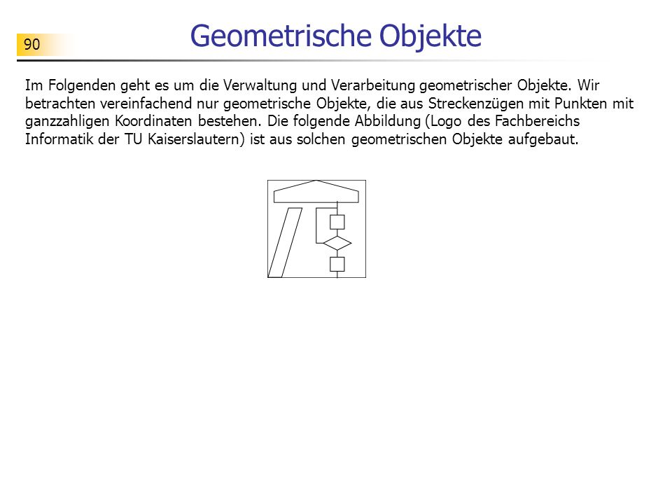 90 Geometrische Objekte Im Folgenden geht es um die Verwaltung und Verarbeitung geometrischer Objekte.