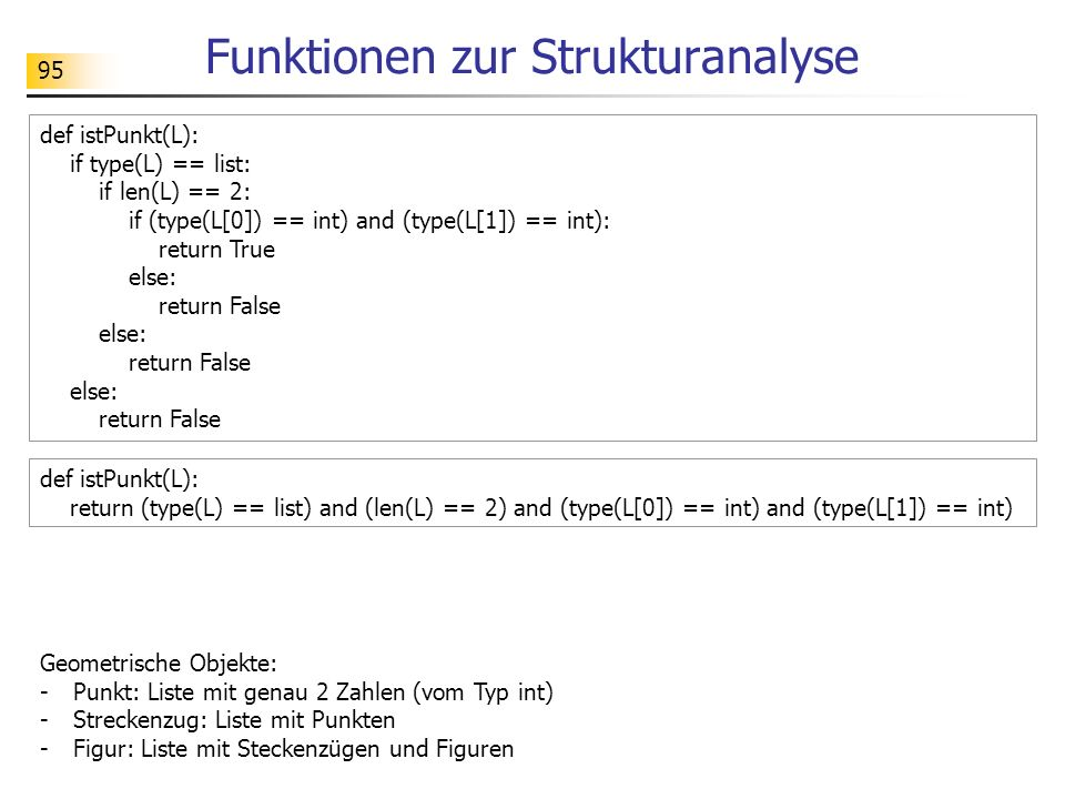 95 Funktionen zur Strukturanalyse def istPunkt(L): if type(L) == list: if len(L) == 2: if (type(L[0]) == int) and (type(L[1]) == int): return True els