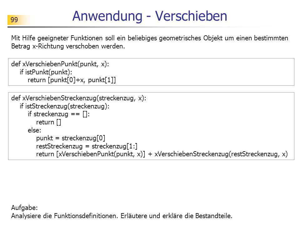 99 Anwendung - Verschieben def xVerschiebenPunkt(punkt, x): if istPunkt(punkt): return [punkt[0]+x, punkt[1]] Aufgabe: Analysiere die Funktionsdefinitionen.