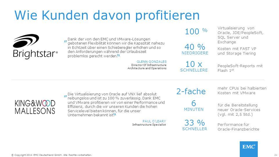 24© Copyright 2014 EMC Deutschland GmbH. Alle Rechte vorbehalten.