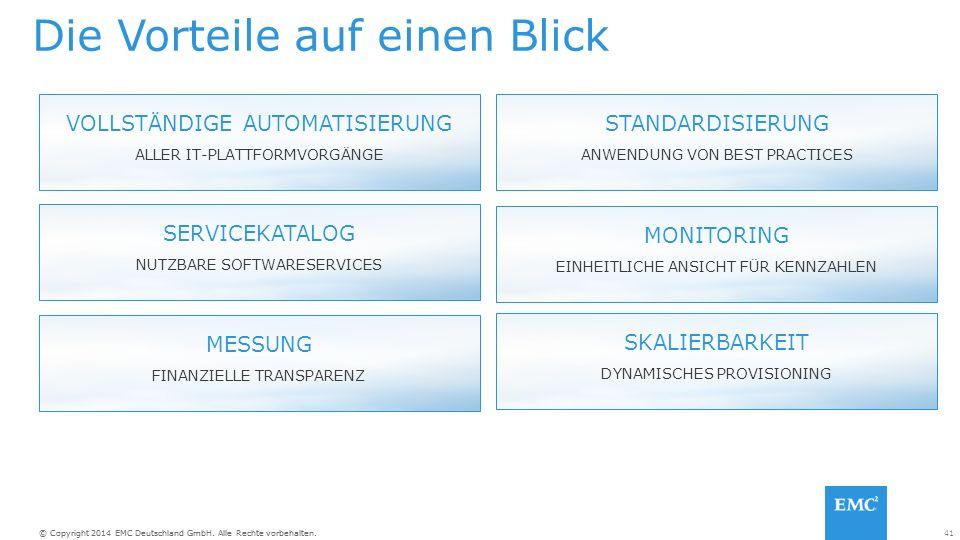 41© Copyright 2014 EMC Deutschland GmbH. Alle Rechte vorbehalten.
