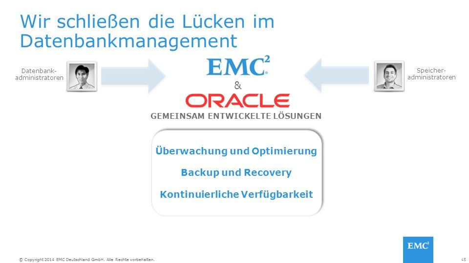 45© Copyright 2014 EMC Deutschland GmbH. Alle Rechte vorbehalten.