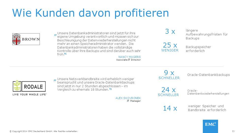 53© Copyright 2014 EMC Deutschland GmbH. Alle Rechte vorbehalten.