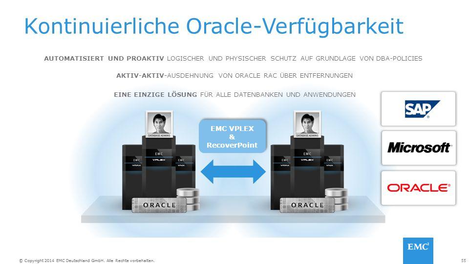 55© Copyright 2014 EMC Deutschland GmbH. Alle Rechte vorbehalten.