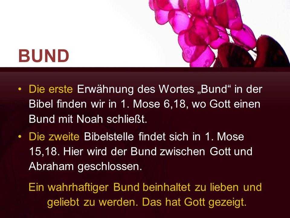 """BUND Die erste Erwähnung des Wortes """"Bund"""" in der Bibel finden wir in 1. Mose 6,18, wo Gott einen Bund mit Noah schließt. Die zweite Bibelstelle finde"""