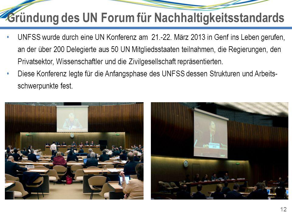 12 Gründung des UN Forum für Nachhaltigkeitsstandards 12 UNFSS wurde durch eine UN Konferenz am 21.-22. März 2013 in Genf ins Leben gerufen, an der üb