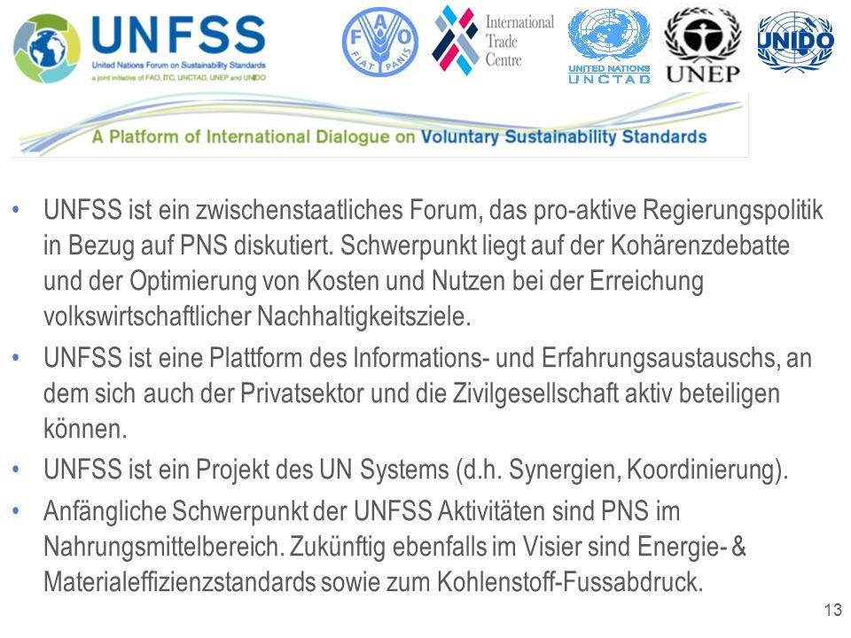 13 UNFSS ist ein zwischenstaatliches Forum, das pro-aktive Regierungspolitik in Bezug auf PNS diskutiert. Schwerpunkt liegt auf der Kohärenzdebatte un