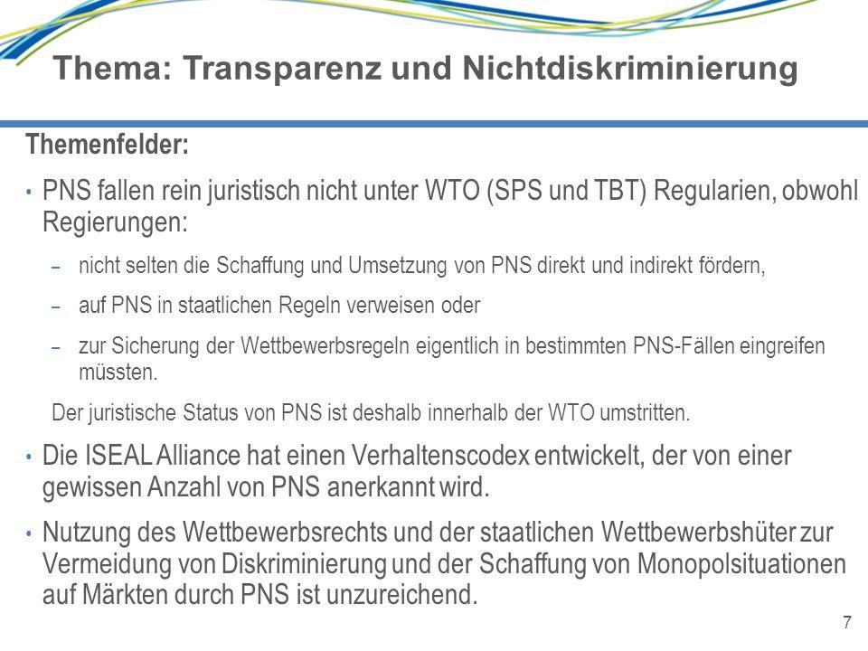 7 Thema: Transparenz und Nichtdiskriminierung 7 Themenfelder: PNS fallen rein juristisch nicht unter WTO (SPS und TBT) Regularien, obwohl Regierungen:
