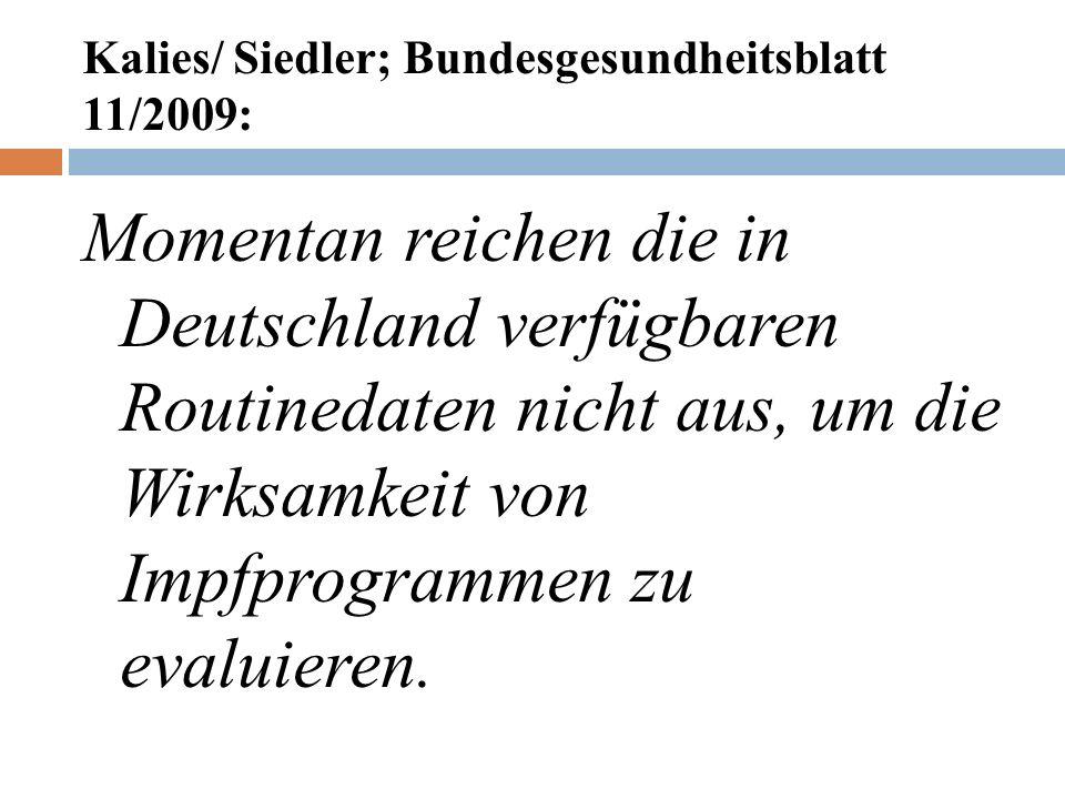 Kalies/ Siedler; Bundesgesundheitsblatt 11/2009: Momentan reichen die in Deutschland verfügbaren Routinedaten nicht aus, um die Wirksamkeit von Impfprogrammen zu evaluieren.