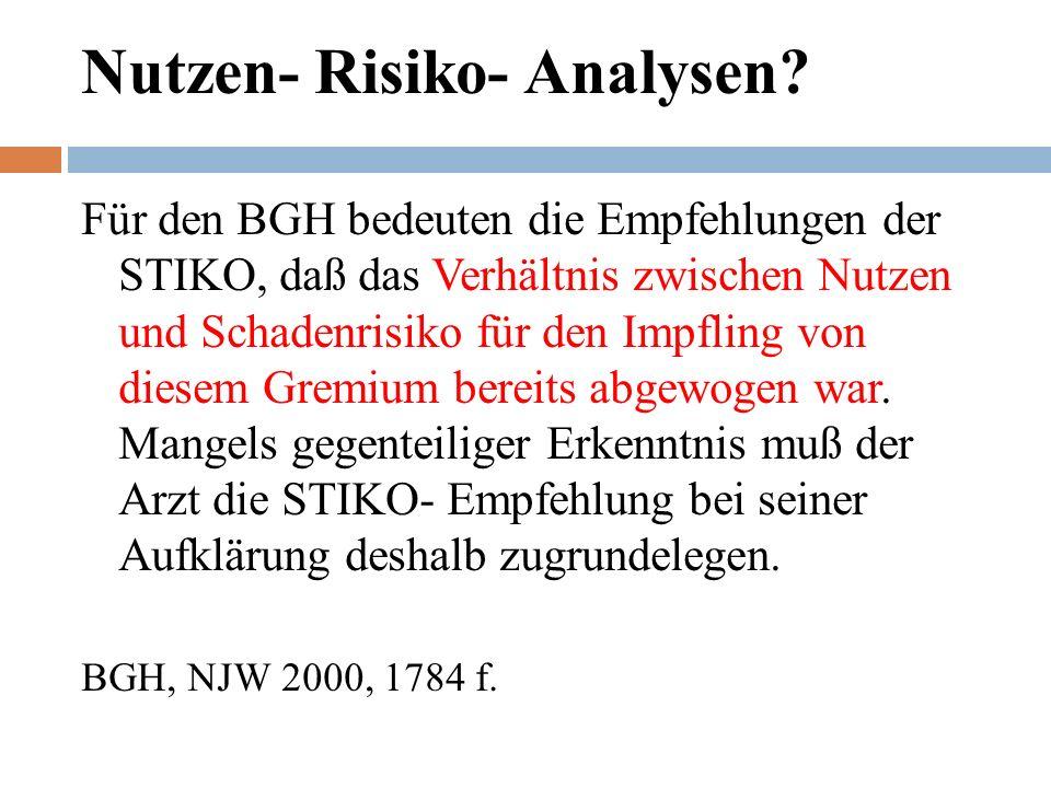 Nutzen- Risiko- Analysen.