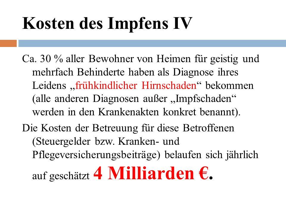 Kosten des Impfens IV Ca.