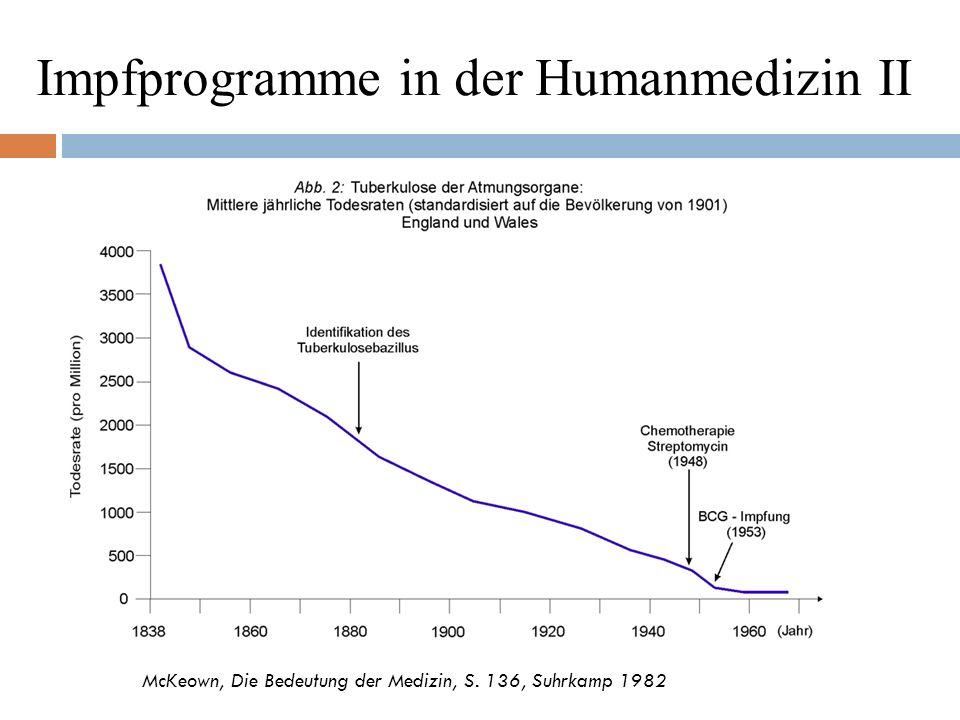 """Impfprogramme in der Humanmedizin III Beispiel Masern Masernausbrüche an USA- Schulen trotz Impfpflicht (98,7 % geimpfter Kinder) Impfungen zur Begrenzung von Ausbrüchen (""""Nachimpfung ungeimpfter Personen ) führten nicht zur Immunität, die infizierten erkrankten dennoch (D 2009) alle SSPE- Fälle mit bekanntem Impfstatus waren geimpft (Schönberger- Studie 2009) Masern- Gefährdung junger Säuglinge durch nicht- immune, da geimpfte/nicht natürlich erkrankte Mütter"""