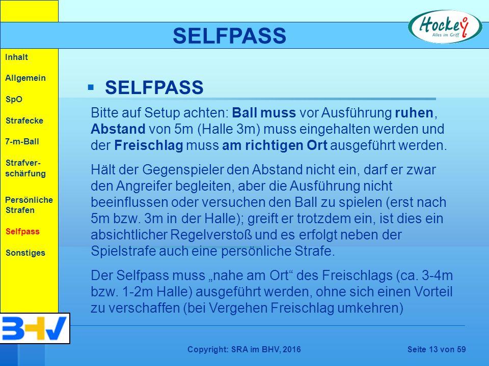 Copyright: SRA im BHV, 2016Seite 13 von 59   SELFPASS Bitte auf Setup achten: Ball muss vor Ausführung ruhen, Abstand von 5m (Halle 3m) muss eingehalten werden und der Freischlag muss am richtigen Ort ausgeführt werden.