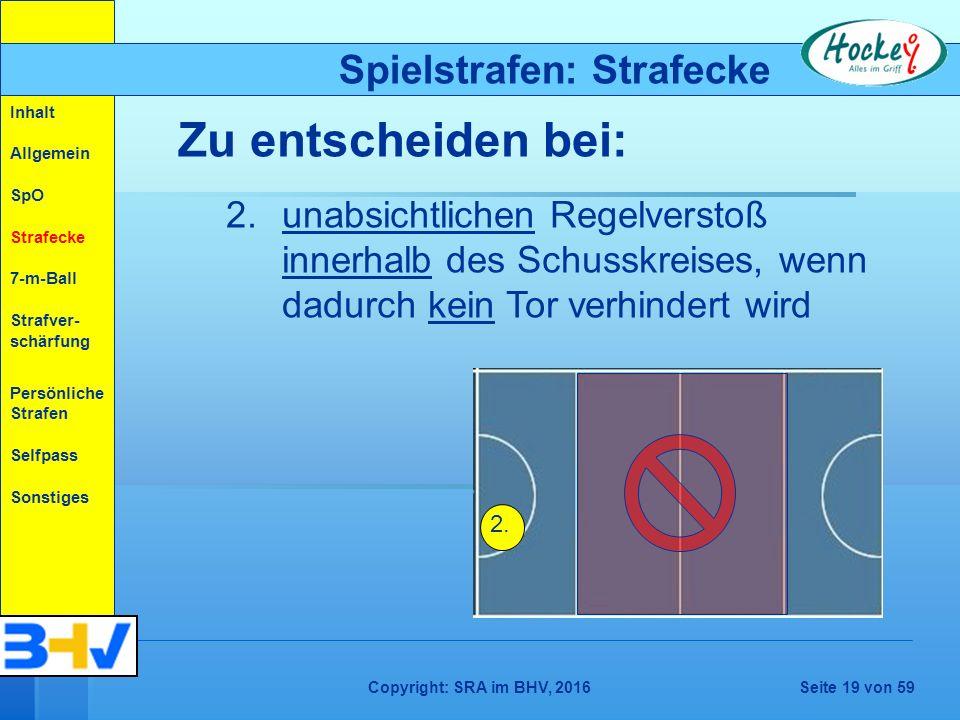 Copyright: SRA im BHV, 2016Seite 19 von 59 Spielstrafen: Strafecke Zu entscheiden bei: 2.unabsichtlichen Regelverstoß innerhalb des Schusskreises, wenn dadurch kein Tor verhindert wird 2.