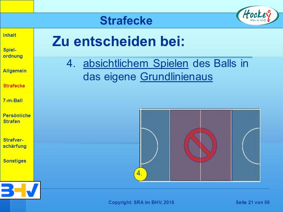 Copyright: SRA im BHV, 2016Seite 21 von 59 Strafecke Zu entscheiden bei: 4.absichtlichem Spielen des Balls in das eigene Grundlinienaus 4.