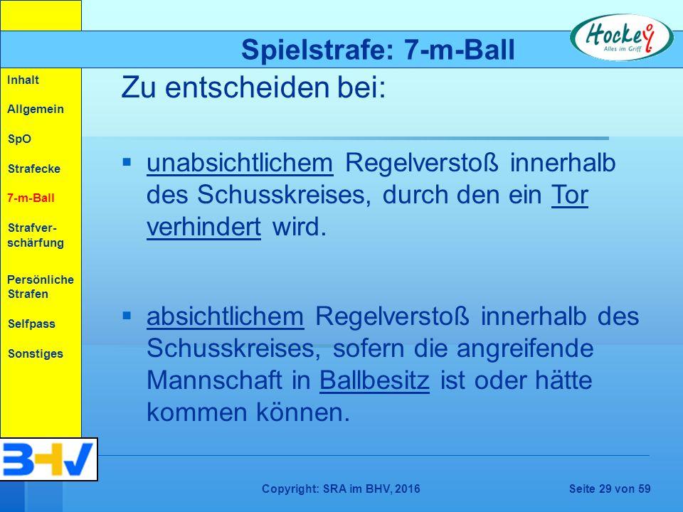 Copyright: SRA im BHV, 2016Seite 29 von 59   absichtlichem Regelverstoß innerhalb des Schusskreises, sofern die angreifende Mannschaft in Ballbesitz ist oder hätte kommen können.