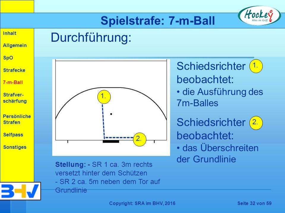 Copyright: SRA im BHV, 2016Seite 32 von 59 Durchführung: Spielstrafe: 7-m-Ball Inhalt Allgemein SpO Strafecke 7-m-Ball Strafver- schärfung Persönliche Strafen Selfpass Sonstiges 1.