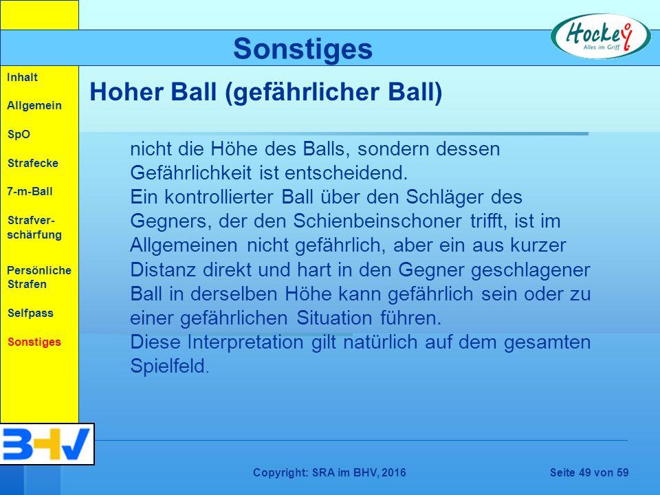 Copyright: SRA im BHV, 2016Seite 49 von 59 nicht die Höhe des Balls, sondern dessen Gefährlichkeit ist entscheidend.