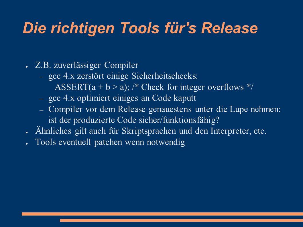 Die richtigen Tools für s Release ● Z.B.